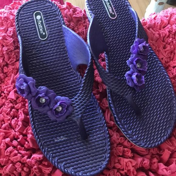 a61b2031edd3a Chatties Shoes - Purple Flower 🌺 Flip Flops Size L (9)